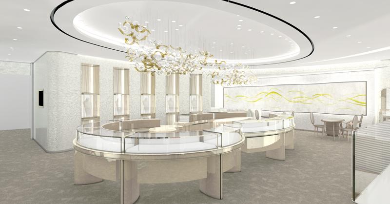 二樓寬敞舒適的空間,讓挑選珠寶的客人能更加自在,而妝點於珠寶沙龍內的藝術之作,則令空間宛如一座藝術博物館,漫步於其中猶如接受當代藝術洗禮。