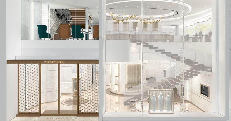 旗艦店入門處以挑高通透的設計,和海洋之美交相呼應,優雅高貴的形象,完美呼應品牌尊貴地位。