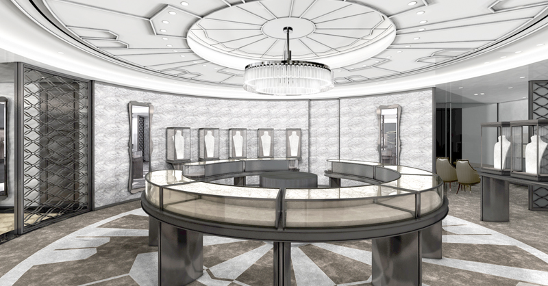 五樓空間專屬高級珠寶區,內部許多圓形的設計,用來呼應品牌最尊貴的寶石—頂級真珠,而天頂上幾何圖樣,則取材自品牌1937年的經典作品和服帶留「矢車」。