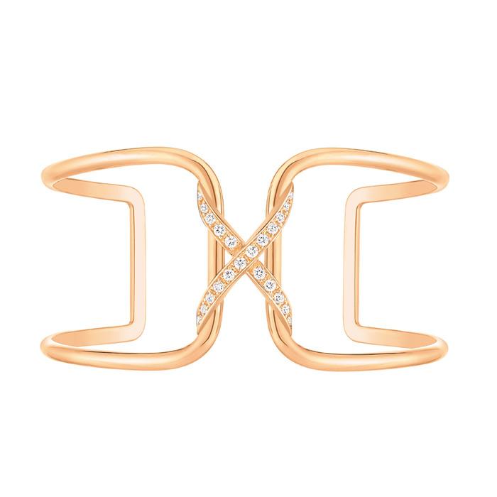 CHAUMET-情感的相遇 標誌性的「X」符號,代表情感的緊密交結  玫瑰金鑲鑽手環 電洽