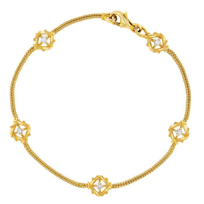 黃K金鑲鑽手鍊, 143,000元