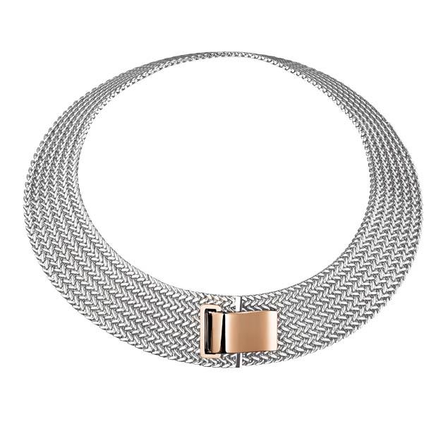 Hermes Passante 純銀與玫瑰金項鍊