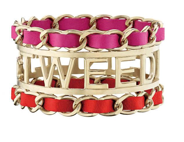 Chanel 桃紅皮穿鏈手環