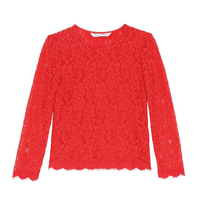 Diane von Furstenberg紅色蕾絲上衣
