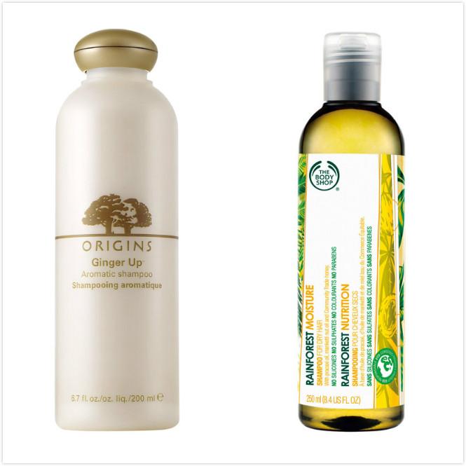 ORIGINS 薑味暖暖香氛洗髮精,200ml,670元;THE BODY SHOP 蜂蜜麥肯果絲柔洗髮精,250ml,520元。