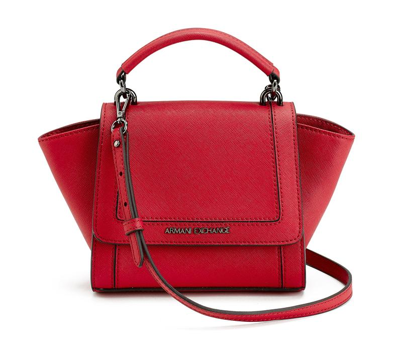 Armani Exchange 胭脂紅手提斜背包,6,190元。