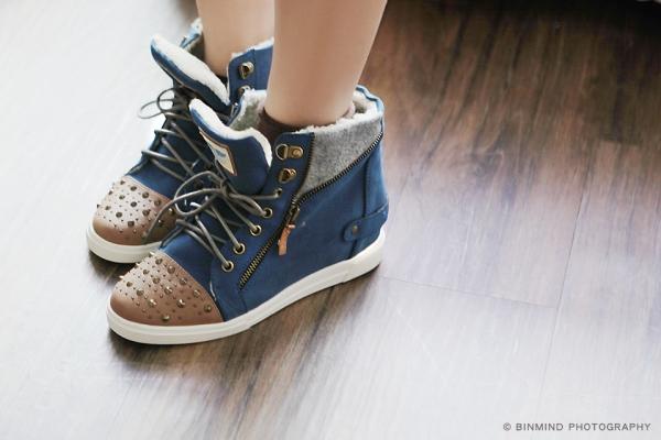 Le Bunny Blue運動型中筒鞋,內有混合羊毛,超保暖;