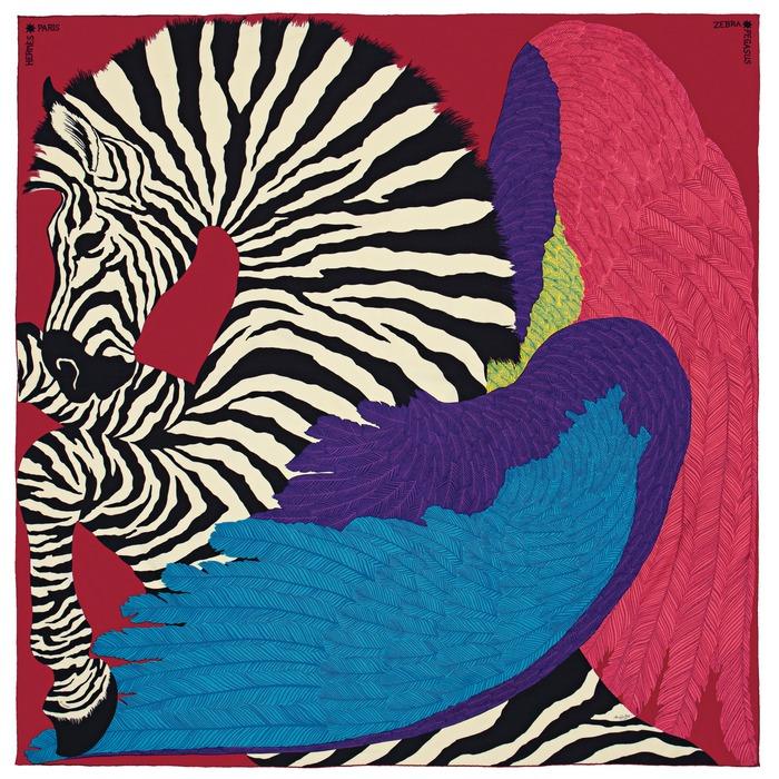 Zebra Pegasus 圖紋印花喀什米爾羊絨與真絲混紡圍巾 140公分_NT$42,500