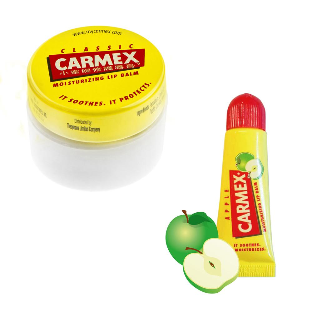 CARMEX小蜜媞修護唇膏經典原味圓罐7.5g+青蘋果口味10g